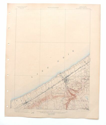 Westfield New York Rare Antique USGS Topographic Map 1899 Mayville Ripley Topo