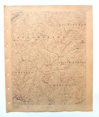 Appomattox Virginia Antique USGS Topo Map 1892 Brookneal 30-minute Topographical