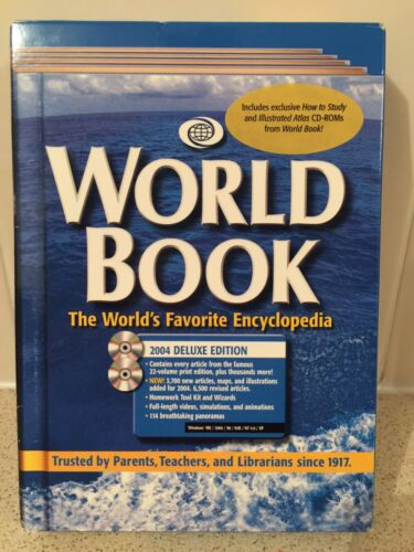 World Book Encyclopedia 2004 Delux Edition CD ROM's How To Study & Atlas Sealed