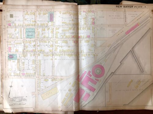 New Haven, CT map from 1888 Atlas - Original - Railroad Engine House - Union Sta