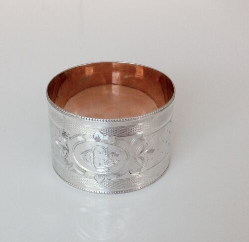 Antique french Gilded  Solid silver napkin ring CG