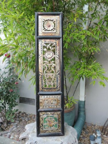 B. Antique Carved Gold Gilt Wood Panel   w/ Vase and Flower Screen