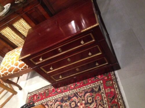 Antique French Solid Mahogany Small Chest of Drawers Brass Inlay 3 draws c1840