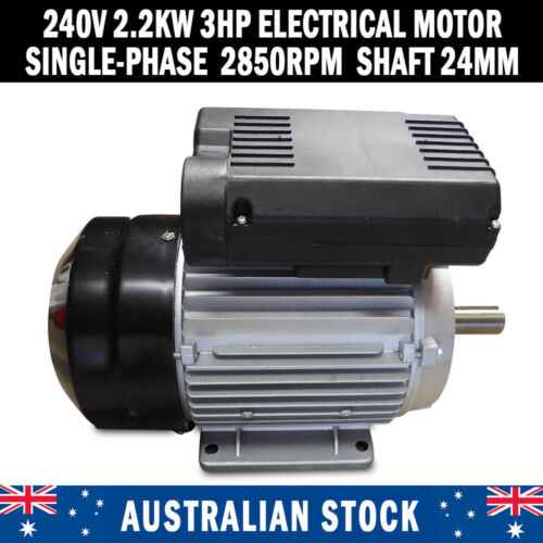 NEW Electrical Motor Single Phase 240v 2.2kw 3HP Shaft 24mm Air compressor