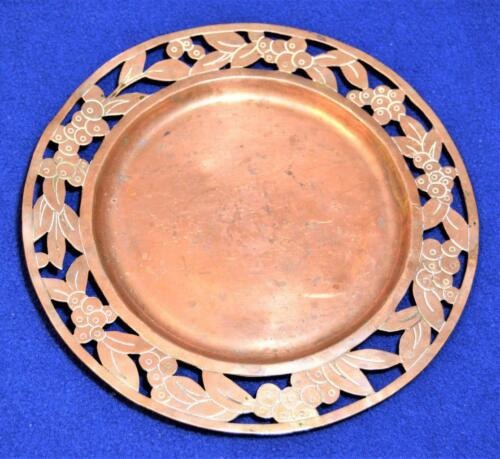 """Stamped VICTORIA TAXCO MEXICO Hand Made Ornate Copper 7 3/4""""d Plate #468"""