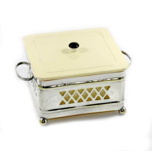 Vintage Marquis cream & black & pierced silver plated lidded pot with handles