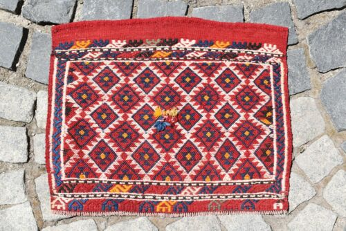 Marvelous Antique Awesome Collector's Piece Anatolian Sumac Kilim Bag Face Rug