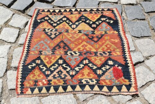 Marvelous Antique Awesome Rare Collector's Piece Anatolian Kilim Bag Face Rug