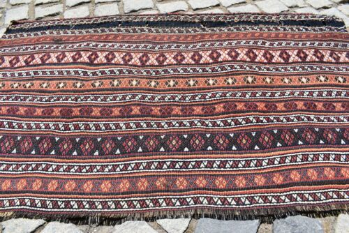 Marvelous Antique Awesome Caucasian Collector's Piece Sumac Kilim Bag Face Rug