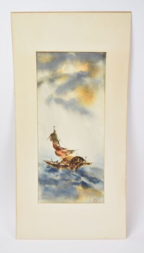 Mid-Century Watercolor Painting Chinese Junk at Sea Signed Victor Ing Chicago