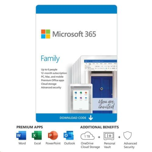 Microsoft 365 Family 6 Device 1 Year Subscription Medialess Word Excel Outlook