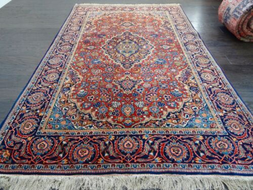 "Stunning C 1930 Vintage Antique Exquisite Hand Made Rug 4' 5"" x 6' 11"""