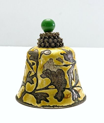 Small Antique Chinese Enameled Silver Peking Glass Hat Finial Bell