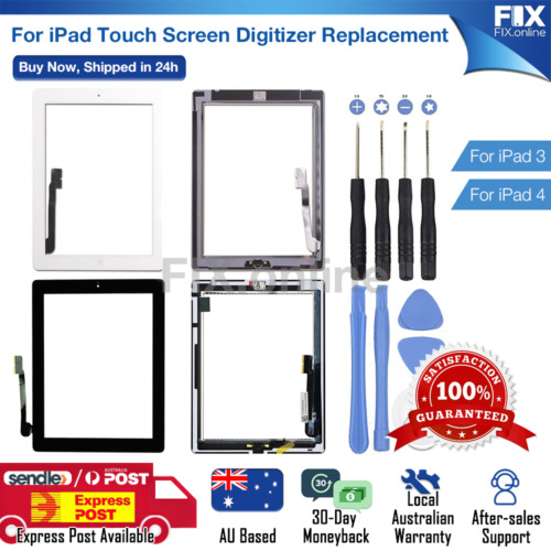 For iPad 3 4 Digitizer Front Touch Screen Glass Replacement + Tools S