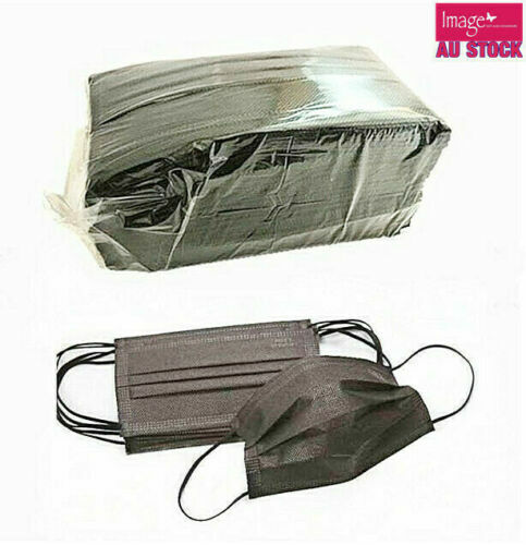 50pcs BLACK Face Mask 3 Layer Mouth Masks Anti Bacterial Filter Disposable