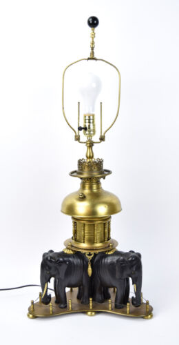 Vintage Victorian Electrified Oil Lamp Supported by Carved Ebony Elephants