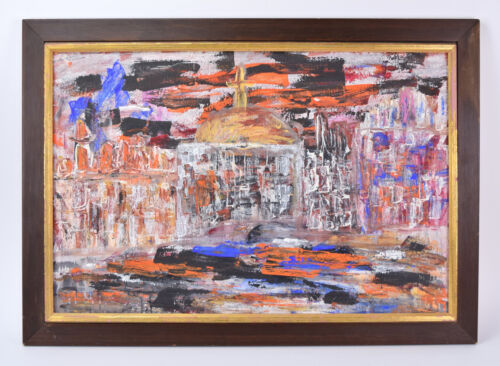 Mid-century Modern Abstract Oil Painting Cityscape Domed Cathedral by Weinberg
