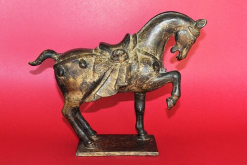 """Chinese Tang Style Cast Iron Horse Sculpture  (12"""" L x 9 1/2"""" H x 4 1/4"""" W)"""