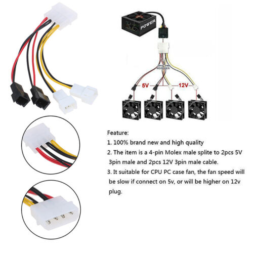 PC 4-Pin Molex/IDE to 3-Pin CPU/Chasis/Case Fan Power Cable Adapter Connecto Dh
