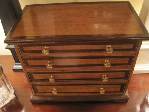 American Miniature Chest of Draws Faux Grain Painted Spice Chest Tea Caddy c1850