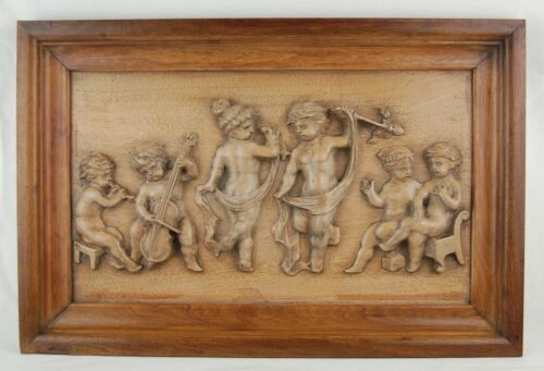 Vintage Carved Wood Furniture Panel Bas-Relief Plaque Cherubs Putti Dancing