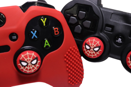 Spiderman Silicone Cover + Thumb Cap Combo PS4/3 Xbox One/360 Case Extra Grip