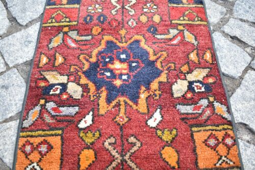 Vintage Primitive Rug 16'' x 30'' Anatolian Hand-Knotted Rare Design Small Rug