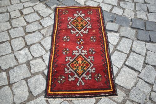 Vintage Primitive Rug 15'' x 31'' Anatolian Hand-Knotted Rare Design Small Rug