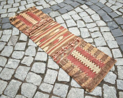 Fabulous Antique Awesome Caucasian Collector's Piece Verneh Kilim Saddlebag Rug