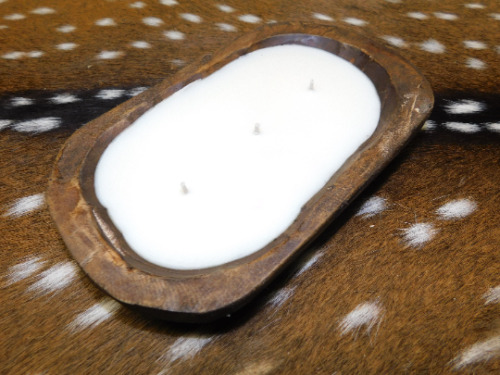 Carved Wooden Dough Bowl Soy Wax Candle Scented BAMBOO & COCONUT Wood Trencher