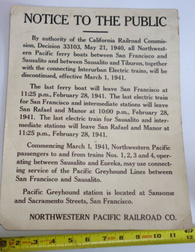 1941 Northwestern Pacific End of Ferry Boat Service Notice