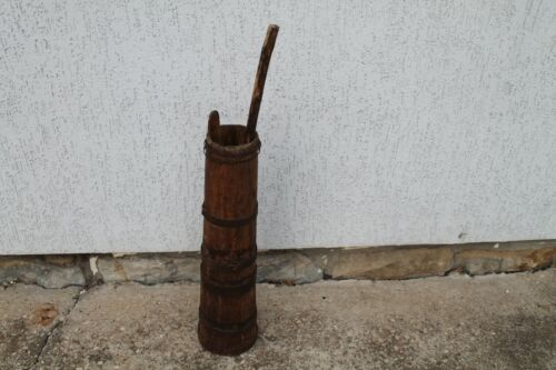 Antique Authentic Old Wooden Primitive Hand Made Butter Churn Of Milk Beater