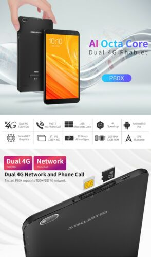 """Tablet 8"""" Android 9.0 32GB 8 inch Core 2G+ 4G LTE WiFi PC Dual AU Teclast P80X"""