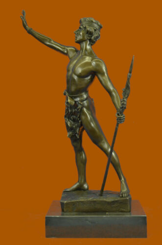 Art Deco Signed Warrior W/ Spear Bronze Statue Figurine Hot Cast Marble Base