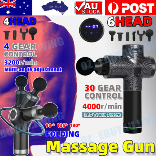 6 Heads LCD Massage Gun Percussion Massager Muscle Relaxing Therapy Deep Tissue <br/> Free return ❤ LCD ❤ Carry BAG ❤ 6 Heads❤ AU Stock