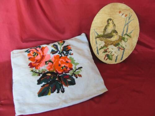 19C. ANTIQUE SET OF HAND EMBROIDERED PILLOW CASE COVER & GOBELIN TAPESTRY