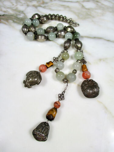 ANTIQUE CHINESE GREEN JADE ORANGE CARNELAIN SILVER BELL CHARM SILVER NECKLACE