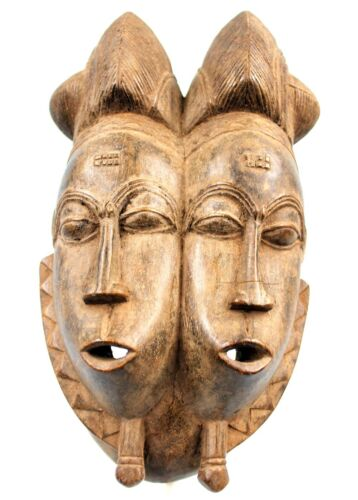 Art African tribal Very Beautiful Mask Twins Baoulé IN Two Faces - Twin Mask
