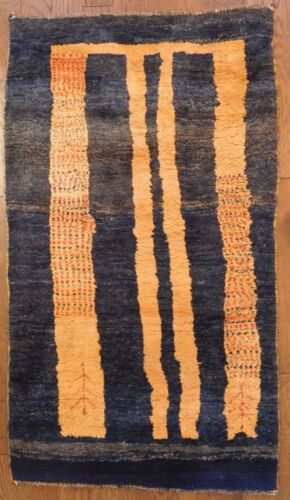 """76"""" x 42"""" Vintage Middle Eastern Rug Thick Pile Blue Gold Abstract VT75"""