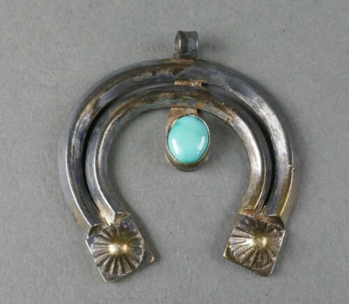Fine Old Navajo Indian Pawn Silver Turquoise Naja Necklace Pendant