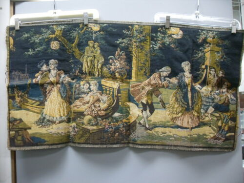 RARE Vintage Beautiful Antique Tapestry Victorian Couples Dancing #3707