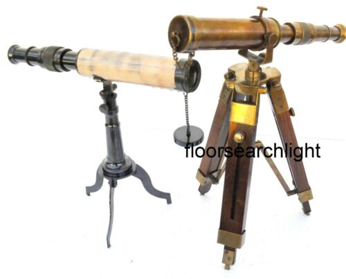 Set Of 2 Nautical Desk Telescope With Tripod Stand Antique Brass Handmade Gift