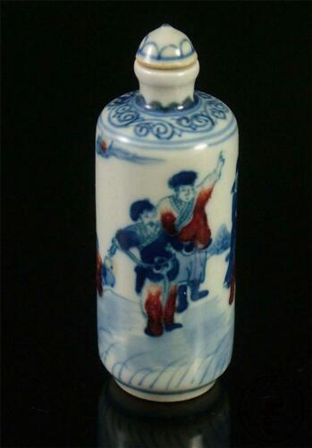 Antique Old Chinese Porcelain Famille Rose Glaze Snuff Bottle Soldiers