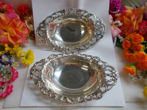 LOVELY SILVER PLATED TRAYS x 2 - ANTIMONY WARE TRADITIONAL SILVER PLATE GC # 727