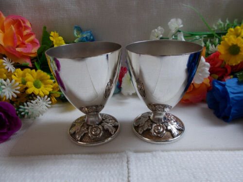 """LOVELY SILVER CUP - FLORAL PATTERN """" LUKE """" SILVER PLATE 1960's x 2 VGC # 804"""