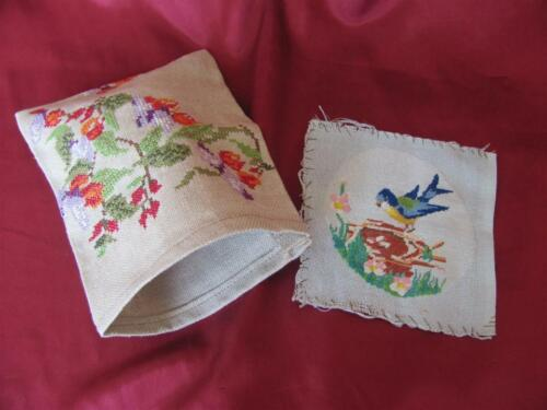 VINTAGE HAND EMBROIDERED GOBELIN TAPESTRY & POUCH CASE