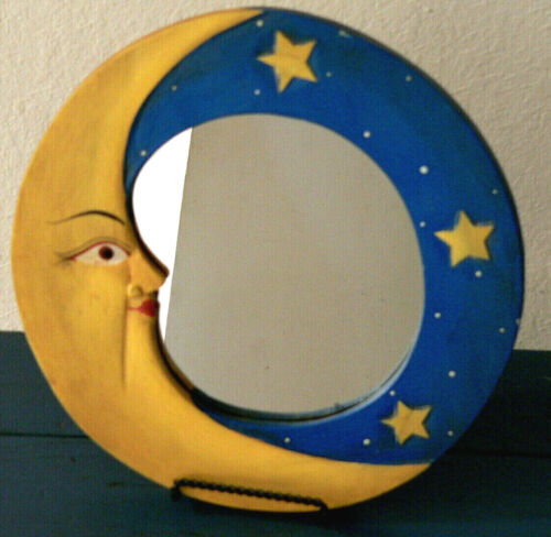 """Vintage Hand Carved Wood Wall Mirror Hand Painted Yellow Blue Moon & Stars 11"""""""