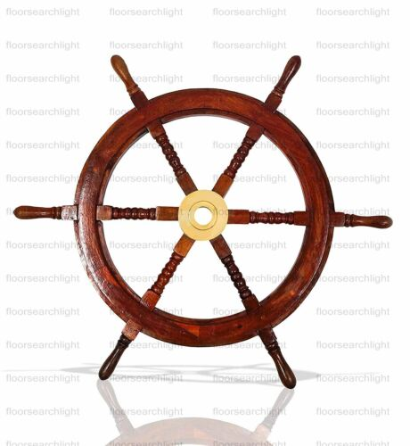 24 Inch SHIP WHEEL Brass Wooden Ship Steering Wall Boat Nautical Decor Vintage