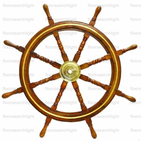 Nautical 36 Inch Wooden Ship Wheel Steering Brass Ring Wall Vintage Decor