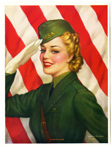 Vintage 1940s World War II Pin-Up Print Salute to Victory Girl Victor Tchetchet